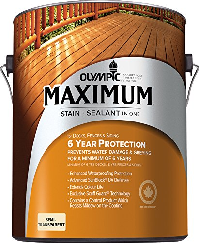 Olympic Stain 79552 Maximum Wood Stain and Sealer, 1 Gallon, Semi-Transparent Stain, ()