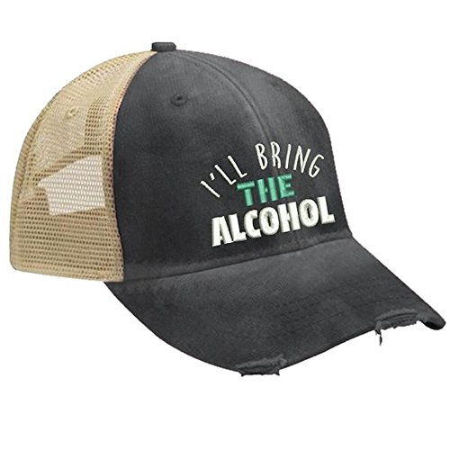 Piper Lou - I'll Bring The Alcohol Trucker Hat with Snapback Enclosure - Black -