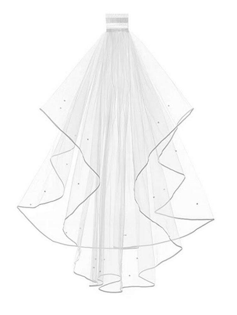 Women's 2 Tier Short Bridal Pearl Veil Wedding Porm Party Veil With Comb (White)