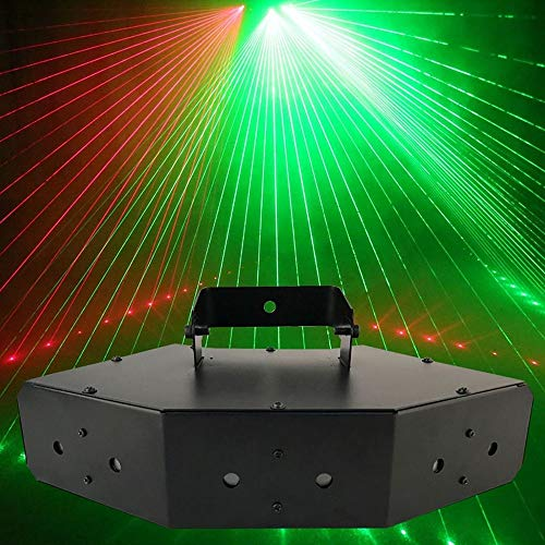 (GLVG) Strobe Light 6 Hole Disco Flash Lighting RGB Stage Projection Lamp Voice Control for Party Ball Bars(Black)
