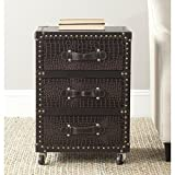 Cheap Safavieh Home Collection Llyoyd Black, Brown & Silver 3 Drawer Rolling Chest
