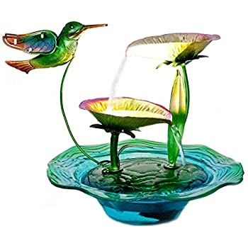 ReLIVE 12 Inch Indoor Electric Cascading Tabletop Water Fountain With LED  Lights (Hummingbird)