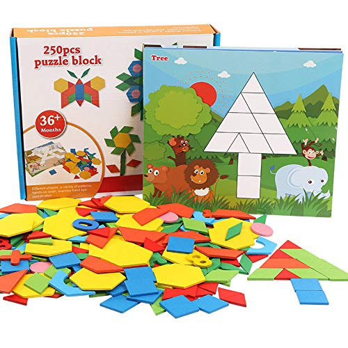 Wooden Pattern Puzzle Blocks,250 Pieces Colorful Geometry Shape Jigsaw Tangram Blocks Match Games with Number 0-9 & 10 Shape Cards,Classic Educational Intelligence Development Toys for Kids Boys