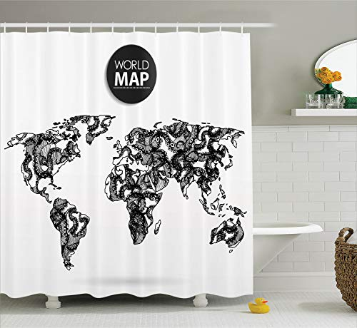 Ambesonne Wanderlust Decor Shower Curtain Set, Modern Elements of Info Graphics Octopus World Map Communication, Bathroom Accessories, 69W X 70L Inches, Black and White