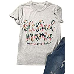 Blessed Letters Arrow Printed T-Shirt Women's Casual Round Neck Short Sleeve Tops Size US M/Tag L (Flower)