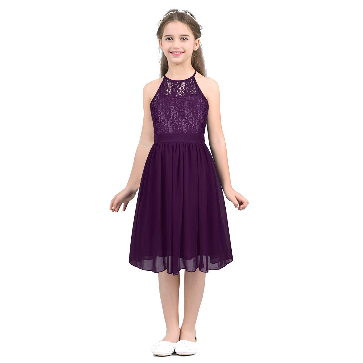 iixpin Kids Halter Neck Floral Lace Chiffon Flower Girls Dress Bridesmaid Wedding Pageant Formal Evening Gown