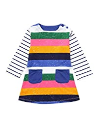 Toddler Girls Rainbow Dresses, Vinjeely Long Sleeves Stripe Party Dress