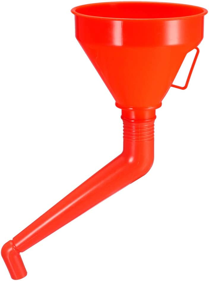 Orange sourcing map Fuel Funnel 5.3 Inch Universal Plastic Car Motorcycle Refuel Gasoline Engine Oil Funnel with Filter