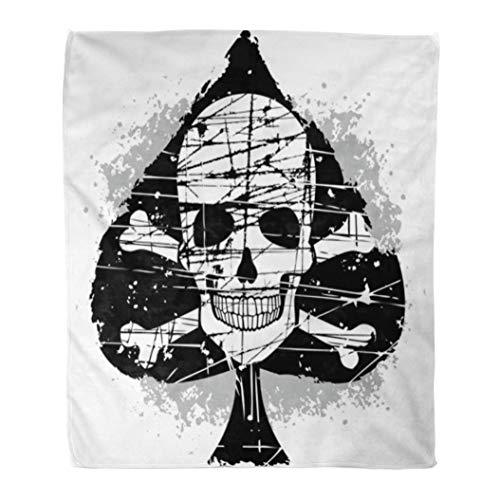 Emvency Throw Blanket Warm Cozy Print Flannel Vintage Ace of Spades Skull Cross Poker Angel Comfortable Soft for Bed Sofa and Couch 60x80 Inches