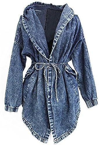 Chic Femme Très Capuche Manteaux Blouse Retro Hiver Bleu Jean Large Veste Mailanda à Boyfriend en UMVqpLzGS