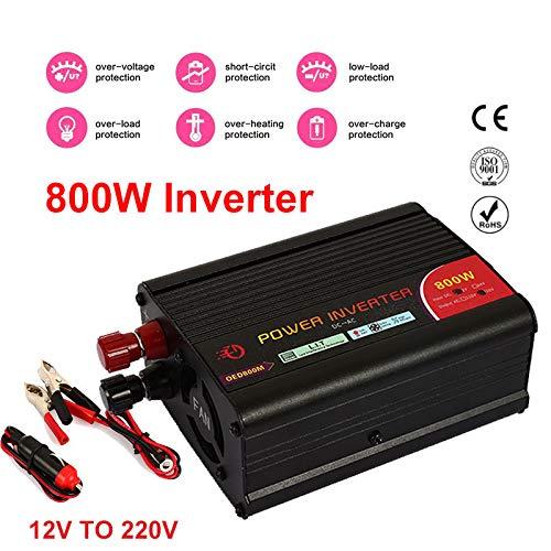 ZZH Inverter per Auto Adattato per Veicolo da 12 V a 220 V 800 W Adattatore