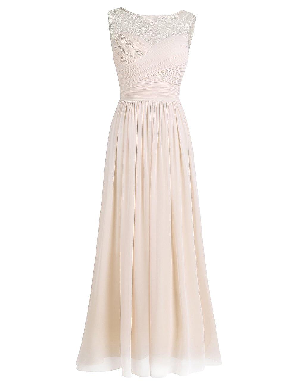iEFiEL Damen Abendkleider elegant Hochzeitskleid Cocktailkleid Chiffon Festlich Festkleid Langes Brautjungfernkleid 34-46