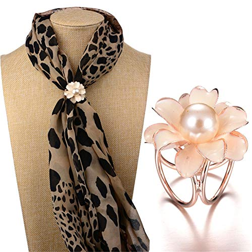 AILUOR Enamel Pearl Camellia Flower Silk Scarf Ring, Women's Elegant Oval Three Layers Scarf Clips Metallic Scarves Buckle Silk Rings Scarves Accessories Jewelry (White)