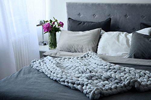 EASTSURE Bulky Knit Throw Chunky Sofa Blanket Hand-made Super Large Pet Bed Chair Mat Rug Grey 40''x79'' by EASTSURE (Image #2)