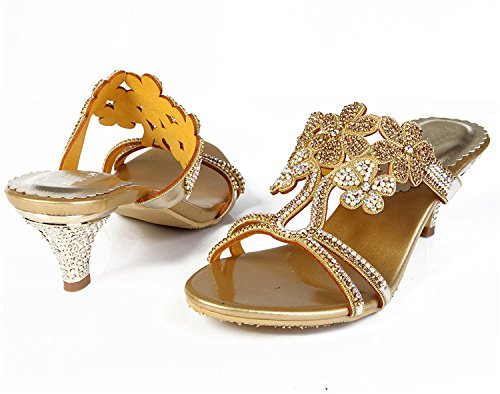 Salabobo Womens Heels Ankle Straps Wedding Bride Bridemaid Party Show Buckle Rhinestone Leather Sandals MX-L002 Gold g1zYJxz