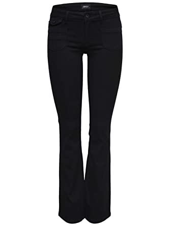 d17df0ebf241 ONLY Damen Hose Ebba Soft Bootcut Jeans PIMBL01 Denim schwarz Flared Fit  (W32 L32