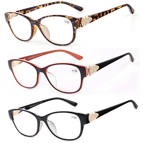 Reading Glasses 3 Set Value Quality Readers Fashion Crystal design Womens glasses for reading 2.5