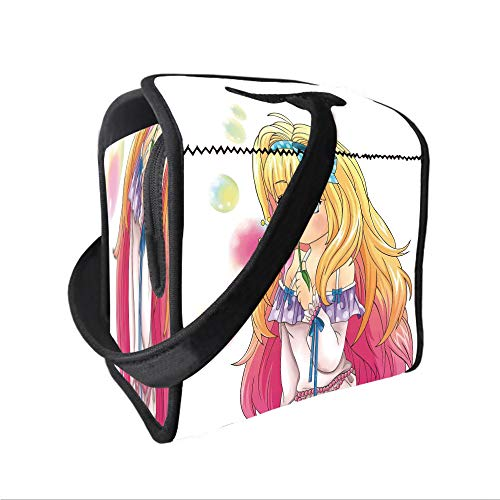 - Neoprene Lunch Tote Bag with Shoulder Strap,Anime,Cute Manga Girl Blowing Bubbles from a Flower Japanese Cartoon Artsy Japan Art Print,Pink Yellow,for boys girls and adults