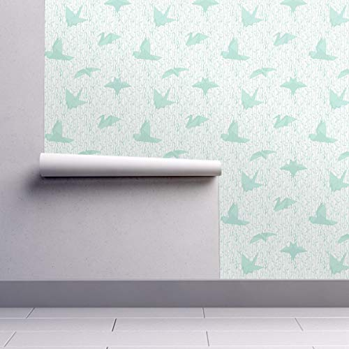 Peel-and-Stick Removable Wallpaper - Birds Birds Origami Japanese Mint White Nursery Decor Birds Palette by Leighr - 24in x 144in Woven Textured Peel-and-Stick Removable Wallpaper Roll