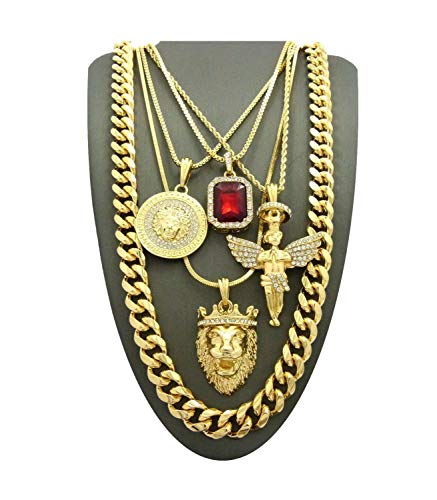 Shiny Jewelers USA MENS ICED OUT LION, JESUS, MEDUSA, ANKH CROSS, ANGEL, RED RUBY STONE PENDANT NECKLACE SET (Set of 5 Necklace)