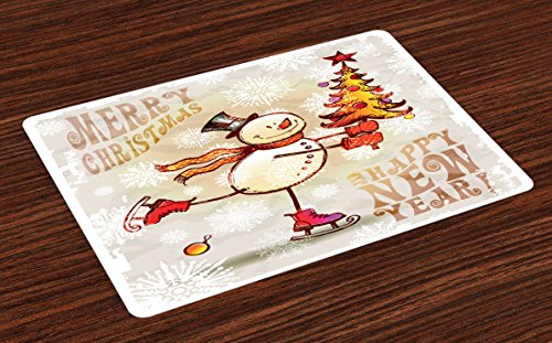 Ambesonne Christmas Place Mats Set of 4, Skating Happy Snowman with Christmas Tree Cheerful Hand Drawn Ornate Snowflakes, Washable Fabric Placemats for Dining Room Kitchen Table Decor, Beige White