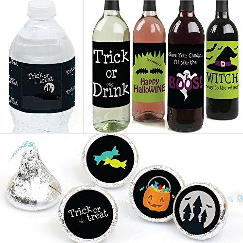 Big Dot of Happiness Trick or Treat - Halloween Party Decorations & Favors Kit - Wine, Water and Candy Labels Trio Sticker Set]()