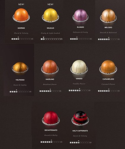 Nespresso Vertuoline - The Mild Sampler Coffee & Espresso Capsules Pods: One Capsule of Each Mild Coffee Flavor Blend for a Total of 10 Capsules - Includes Flavored and Breakfast Blends