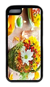 cover case mate flower basket TPU Black Case for iphone 5C