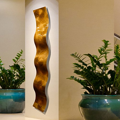 Modern Metal Sculpture - Copper 3D Abstract Metal Wall Art Sculpture Wave - Modern Home Décor by Jon Allen - 46.5