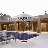 Galtech 11-ft. Auto Tilt Patio Umbrella with LED Umbrella Lights - Sunbrella Black