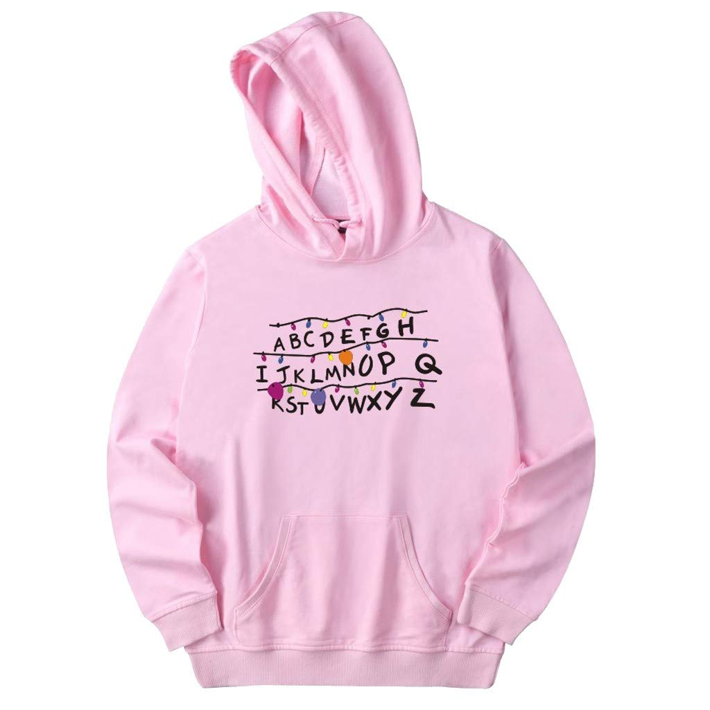 Men Sweatshirts Hoodies Letter Print Casual Loose Fit Long Sleeve Pullover Tee Top Blouse (XXL, Pink)