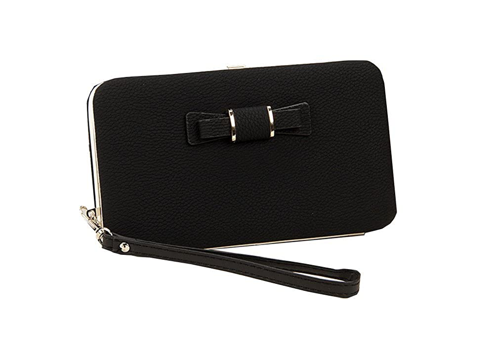 レディースガールズリボン付き電話ジッパー財布with Detachable Wriststrap  ブラック B06ZYQYC5P
