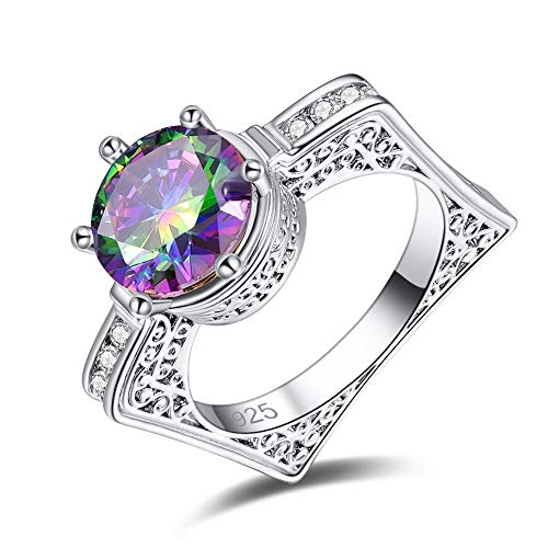 PAKULA 925 Sterling Silver Plated Lab-Created Rainbow Topaz Contemporary Engagement Ring for Women