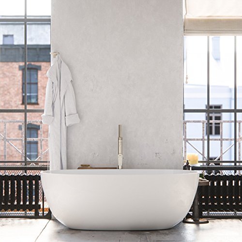 MAYKKE Barnet 61 Inches Modern Oval Light Acrylic Bathtub Easy To Install Freestanding White Soaker