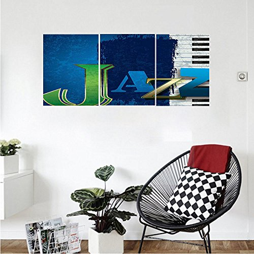 Liguo88 Custom canvas Navy Blue Wall Hanging Abstract Cracked Jazz Music Background with Piano Keys Music Theme Decoration Bedroom Living Room Decor Navy Green White (Finish Piano Tv Stand Gloss)