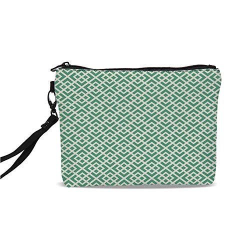 Mint Simple Cosmetic Bag,Shabby Fashion Abstract Squares Vintage Pattern Checkered Striped Crosswise for Women,9