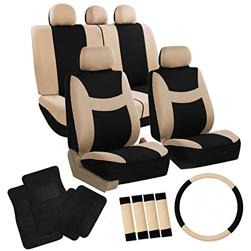 FH Group FH-FB030115 + F14407 Combo Set: Light & Breezy Cloth Seat Cover Set Airbag & Split Ready W. FH2033 + F14407 Carpet Floor Mats Beige/Black- Fit Most Car, Truck, SUV, or Van
