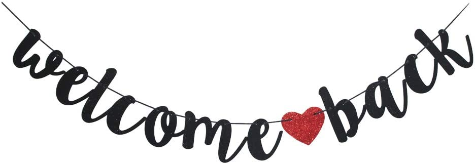 Welcome Back Black Vintage Banner for First Day of School Teacher, Back to School Decor, Home/Classroom/Moving Away Party Sign Supplies
