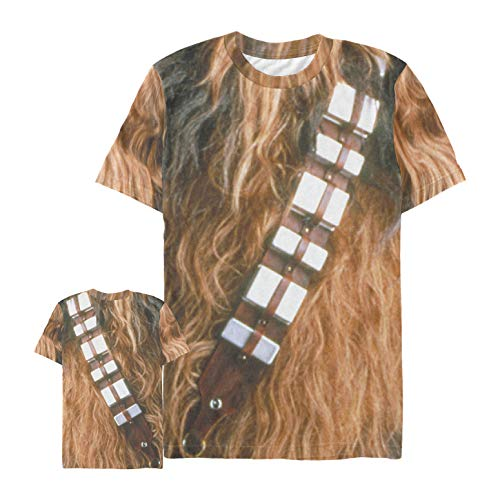 Star Wars Men's Chewbacca Hairy Print Costume Multi-Color All-Over Print T-Shirt ()