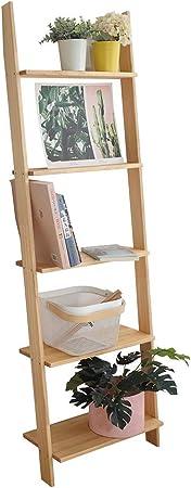 Fanuosu Estantería para Salón Dormitorio 5-Shelf Escalera Librería De Madera con Marco Nivel Biblioteca Estante Escalera Apoyada (Color : Amarillo, tamaño : 160x40cm): Amazon.es: Hogar