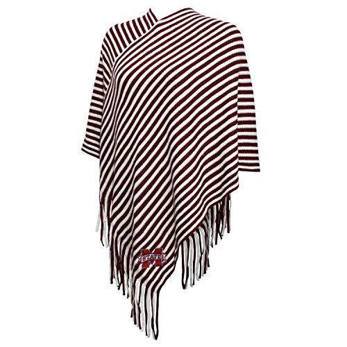 NCAA Mississippi State Bulldogs FeWomen's Campus Specialties Striped Team Poncho, Maroon/White, One Size