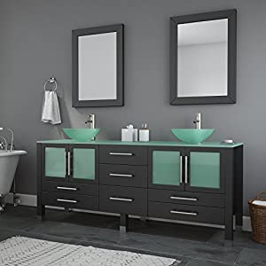 The Tub Connection 71 Inch Espresso Modern Bathroom Double Vanity Set-Lafayette