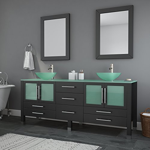 Espresso Bathroom Vanity Modern (The Tub Connection 71 Inch Espresso Modern Bathroom Double Vanity Set-Lafayette (Brushed Nickel Faucets))