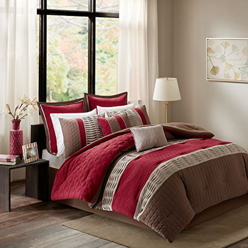 King Size Bed Comforter Set Bed in A Bag - Red, Striped – 8 Pieces Bedding Sets – Microcell Bedroom Comforters ()