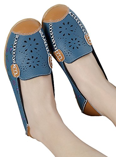 Fangsto Womens Floreale In Pelle Mocassini Flats Scarpe Slip-on Sty-2 Blu