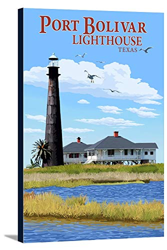 Port Bolivar, Texas - Lighthouse (12x18 Gallery Wrapped Stretched - Lighthouse Texas