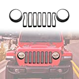 jeep grill overlay - 2018 Jeep Wrangler JL Mesh Grille Grill Insert+Headlight Turn Light Cover Trim(Black)