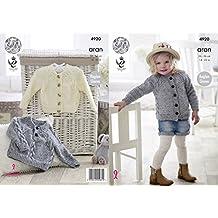 King Cole Girls Aran Knitting Pattern Childrens Cabled Raglan Sleeve Sweater & Cardigan (4920)