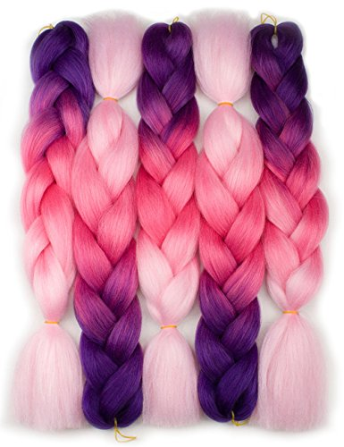 Forevery Braiding Hair Kanekalon Synthetic Ombre Hair Braiding Extensions 5Pcs High Temperature Fiber Crochet Twist Braids Purple to Magenta to Pink (24