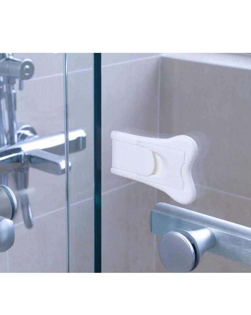 Iseedy Baby Childproof Lock,Childproof Cupboard Kitchen Cabinet Glass Closet//Shower//Window//Wardrobe Door Latch,Sliding Door Lock for Child Safety 4 Pcs